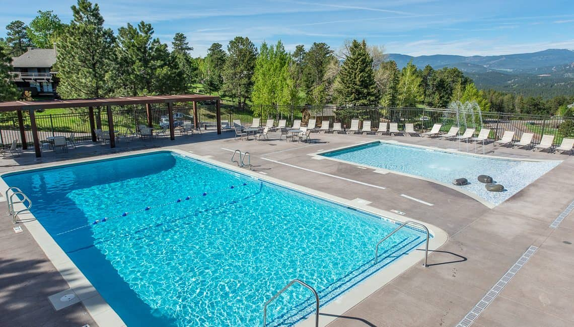 Top view of full pool and kiddie pool at the Vista Clubhouse in Genesee done by Colorado Hardscapes.