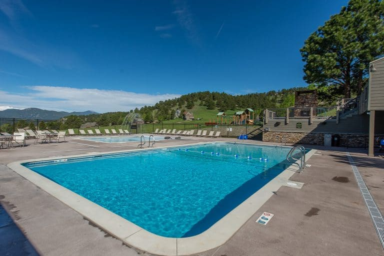 Corner view of the pool at the Vista Clubhouse in Genesee done by Colorado Hardscapes.