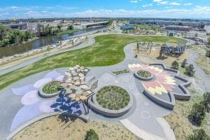 Arial view of the Decorative Concrete installed by Colorado Hardscapes over at Johnson Habitat Park