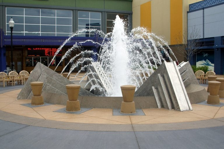 The Shops At Northfield Stapleton house this architectural water feature in front of the theater doors.