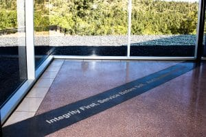The Asian Memorial floors are polished with a salt and pepper finish.