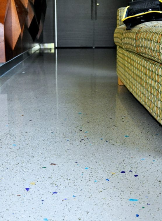 CSU Lory Polished interior floors with different sized colored and sized aggregates