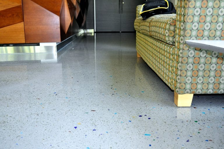 Polished interior floors with different sized colored and sized aggregates