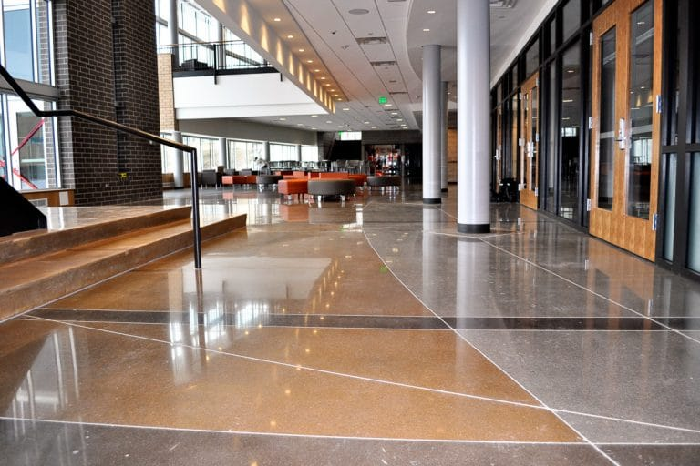 Polished, banded interiors at Regis High School.