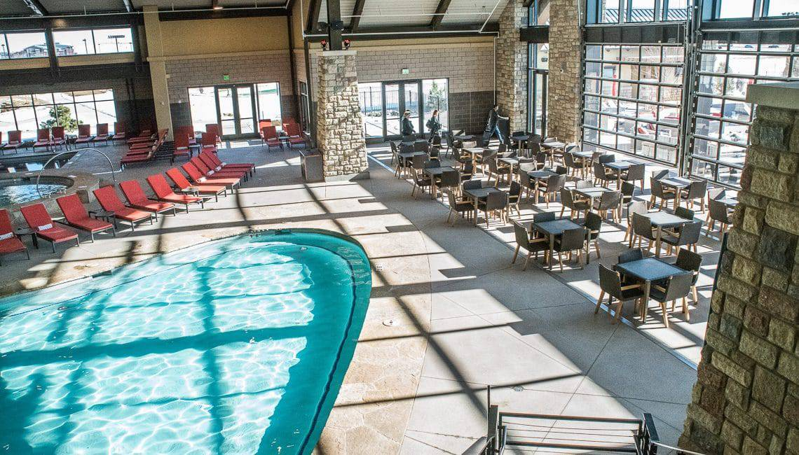Interior Pool Deck at the Gaylord Hotel Decorative Sawcuts on Flatwork - Colorado Hardscapes