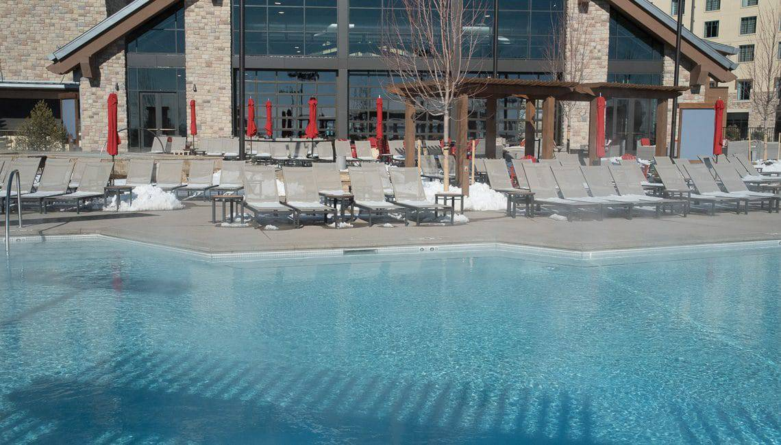 exterior pool deck at the Gaylord Hotel Decorative Sawcuts on Flatwork - Colorado Hardscapes