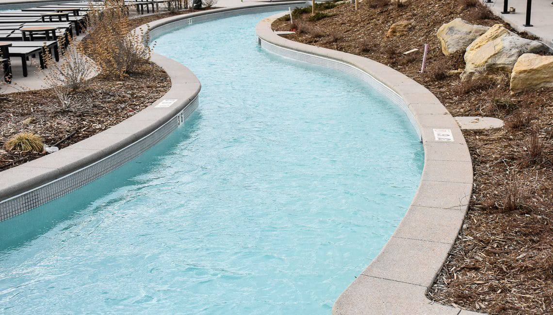 Pool Coping in Sandscape Finish for hotel lazy river