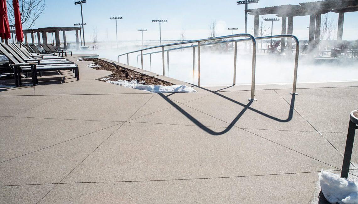 Hotel pool deck Decorative Sawcuts on Flatwork - Colorado Hardscapes