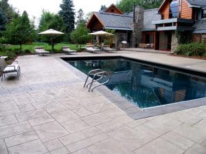 Residential stamped pool deck and coping