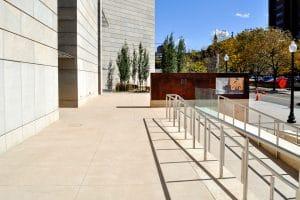 Sandscape flatwork at museum entrance