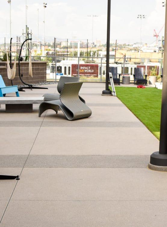 Concrete walkway with dark Sandscape® banding