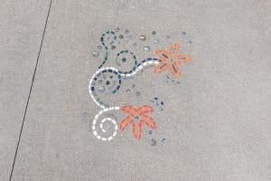 Starfish design integrated into concrete