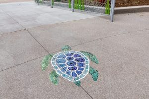 Lithomosaic® turtle design in concrete