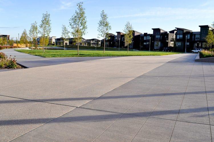 Exterior amphitheater with broom finished flatwork