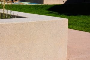 Up close view of the precise Sandscape Refined walls and seating for those at this development.