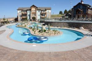 Bomanite imprinted pool deck at Vantage Point Apartments.
