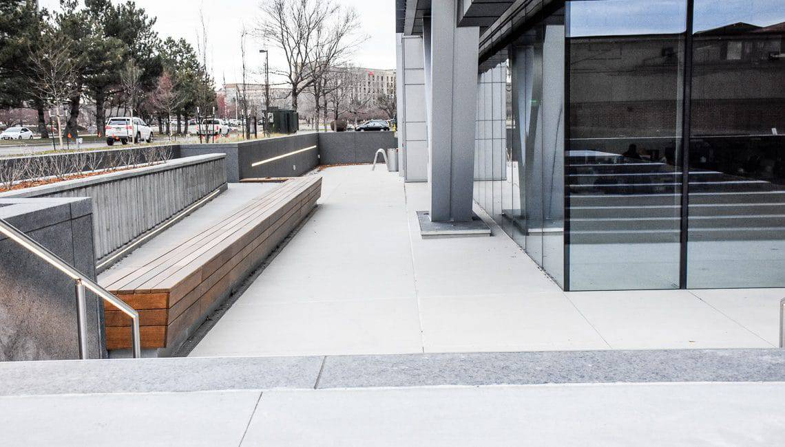 Office building in DTC with sanscape refined finished concrete