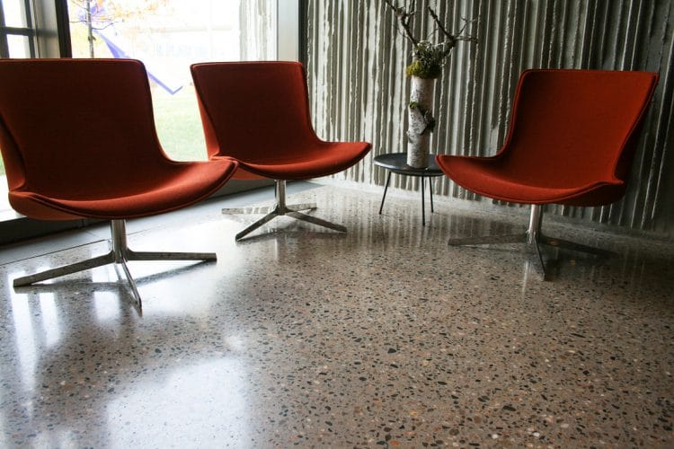 Deep grind and polished floors near the entrance of the museum