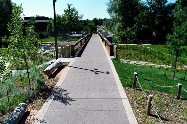 Sandscape® flatwork on bridge over creek. Decorative Sawcuts on Flatwork - Colorado Hardscapes a paver alternative