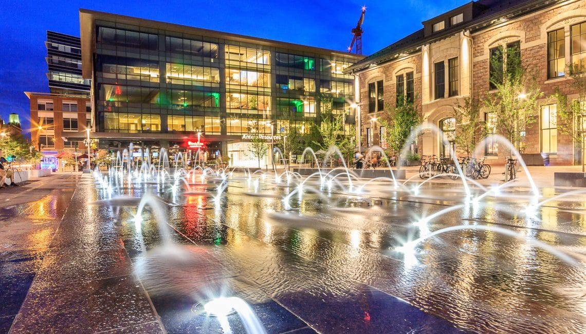 Denver Union Station Water Feature with lights and pop jets