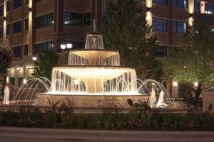 Architectural water feature at SouthGlenn outlets.