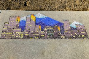 Intricate Lithocrete, tile image of downtown Denver