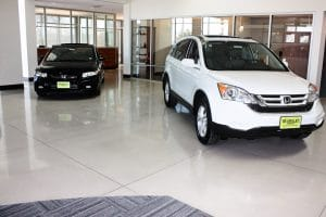 A cementitious terrazzo flooring option for car dealership