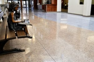 A cementitious terrazzo flooring option for a library