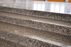 Deep grind polished floor stairs