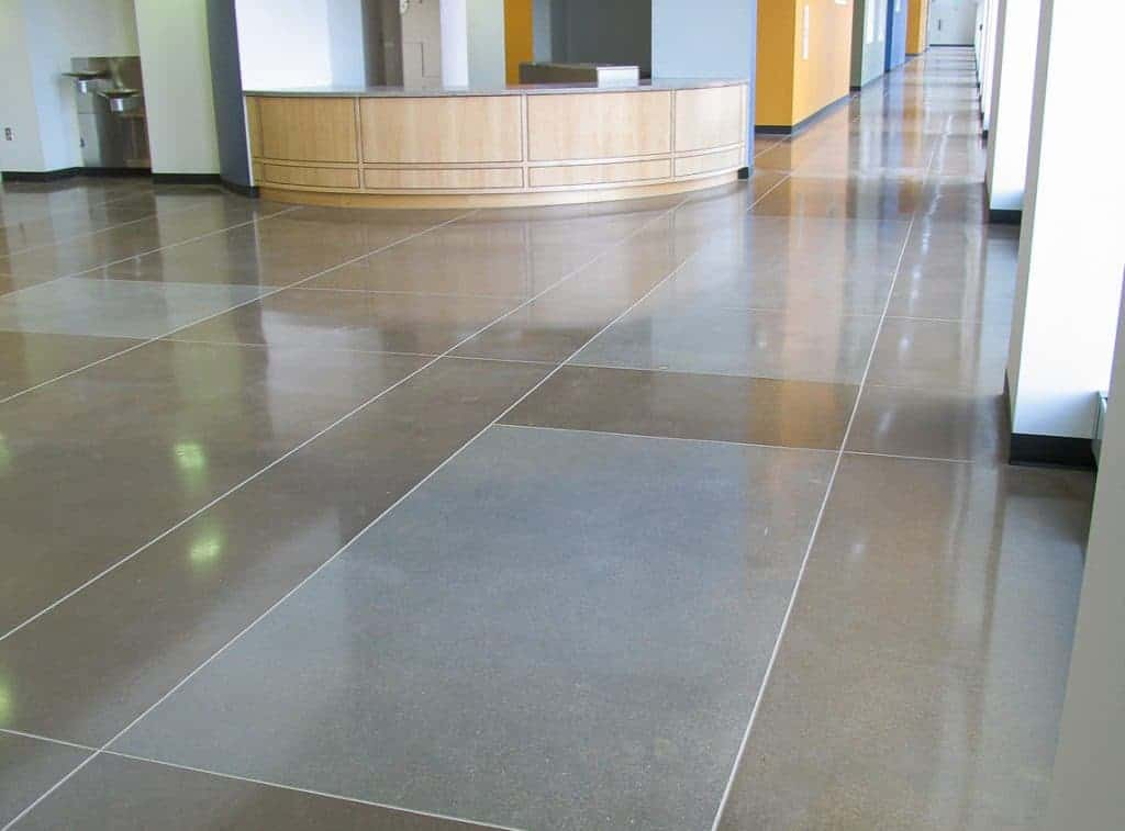 Stained concrete floors in lobby.