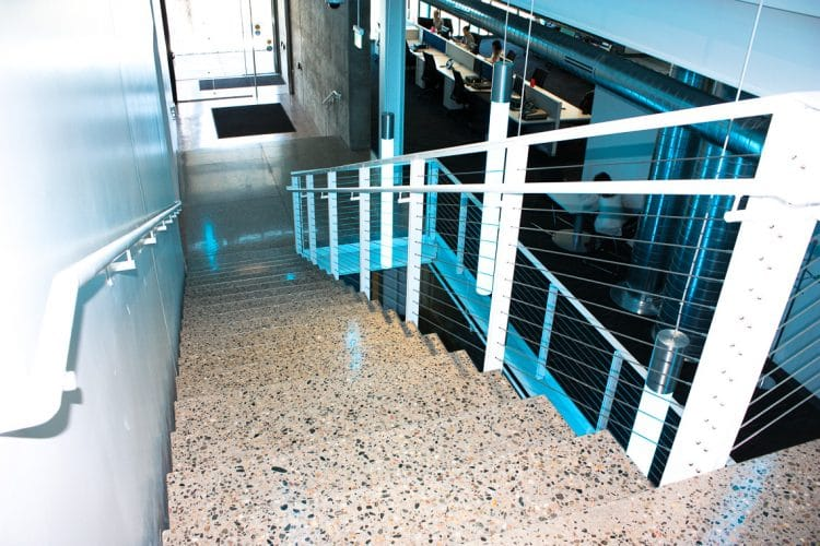 Polished floors in stair treads polished to a deep grind.