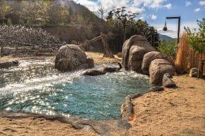 Shotcrete rockwork on zoo rocks in elephant exibit.
