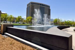 Sandscape wall basin on programmable water feature in greenwood village