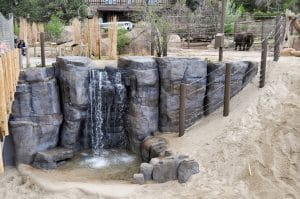 Shotcrete rockwork on zoo rocks in elephant exibit.