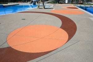 Colorful pool deck Microtop - ST Concrete Overlay - Colorado Hardscapes