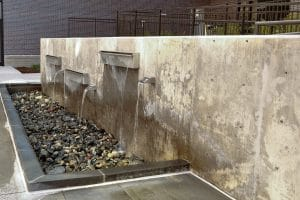 Water feature on vertical concrete application