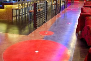 Colorful MicroTop strips along theater floor