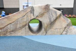 Shotcrete rockwork in play area