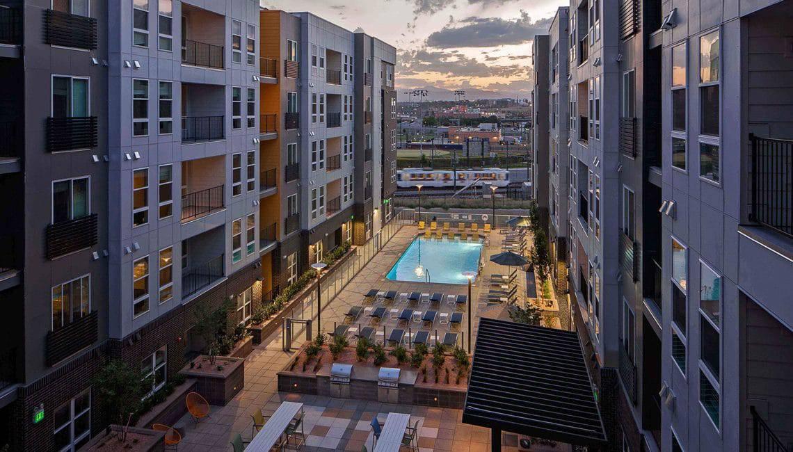 Pool courtyard at sunset