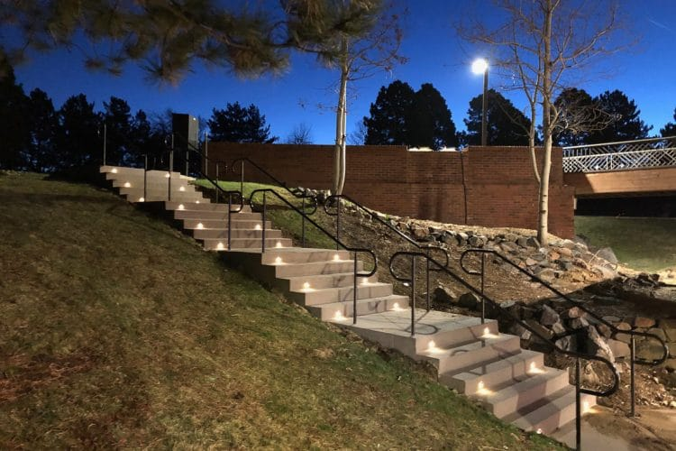 Sandscape stairs with integrated concrete lighting