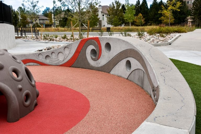 Sensory wall focus at park shows form finish designs and lithomosaic details