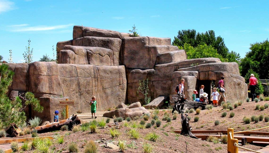 Distant photo of rockwork with people at Botanic Gardens