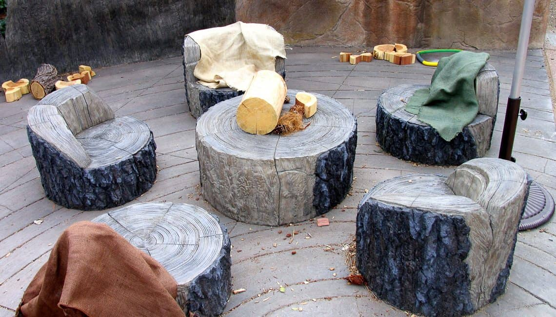 Tree stump seats and table