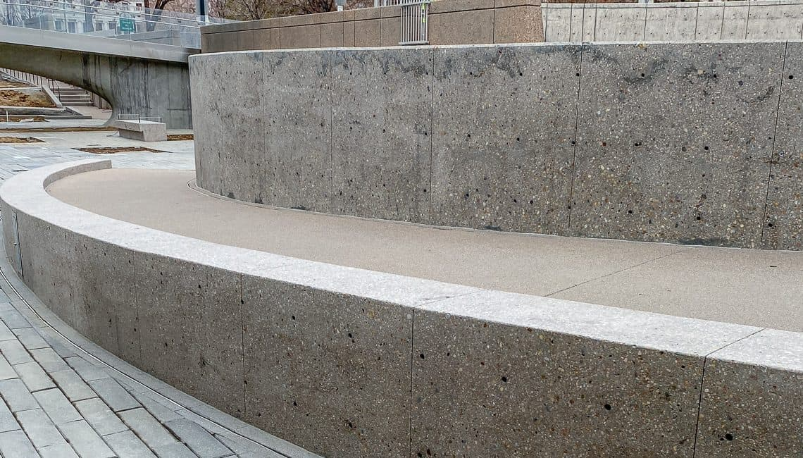 Front facing view of polished concrete benches at Denver Art Museum.