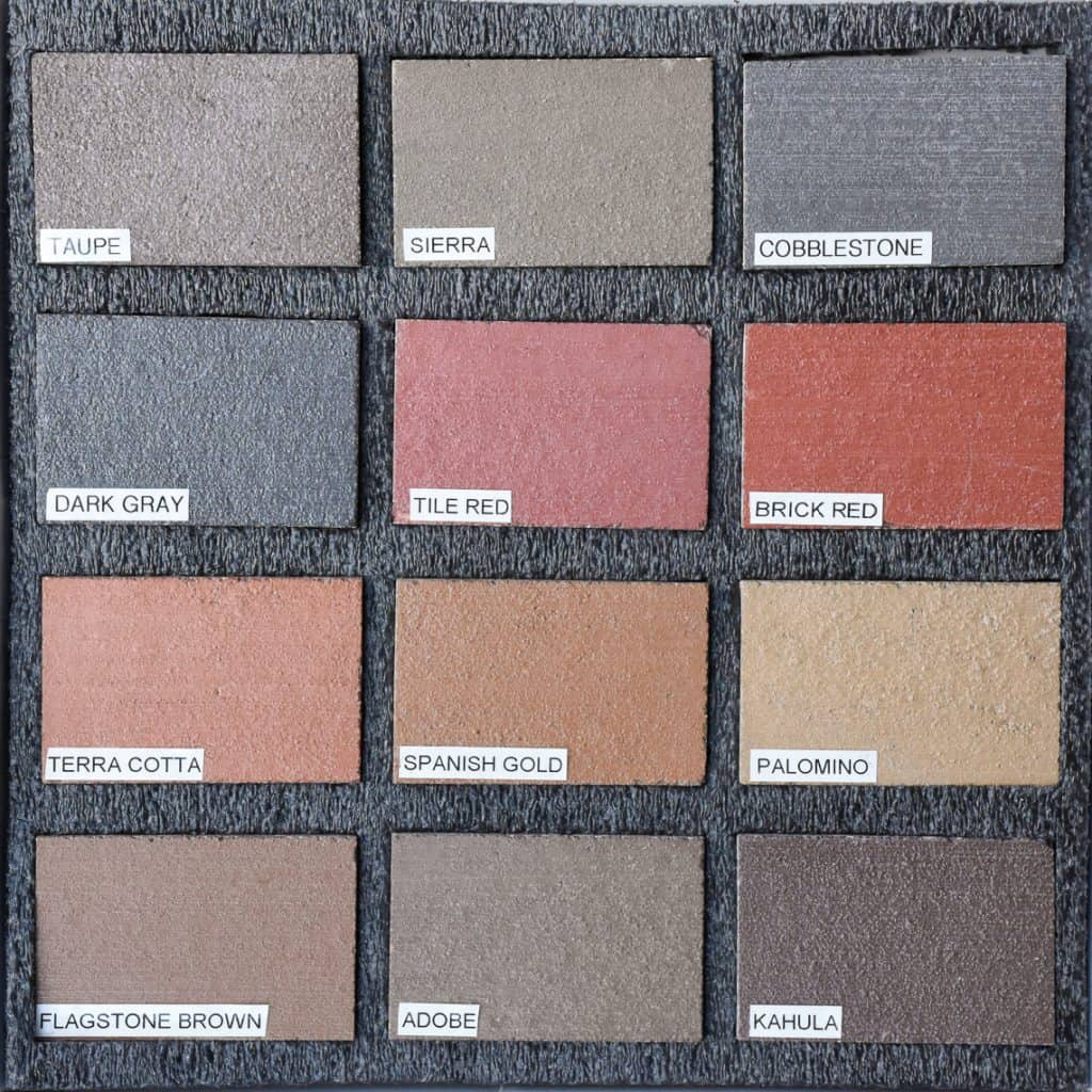 Sample box of twelve color hardener decorative concrete samples with labels from Colordao Hardscapes beautiful and bright colors.
