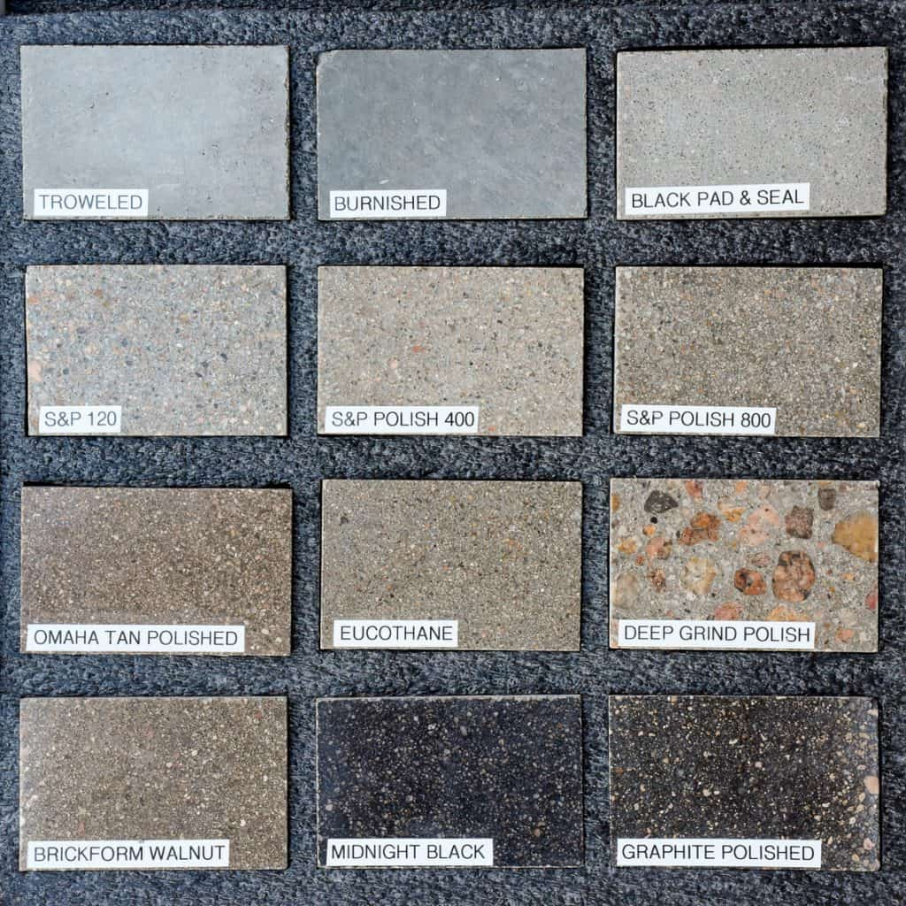 Sample box with interior concrete applications from Colorado hardscapes in Denver, Colorado.