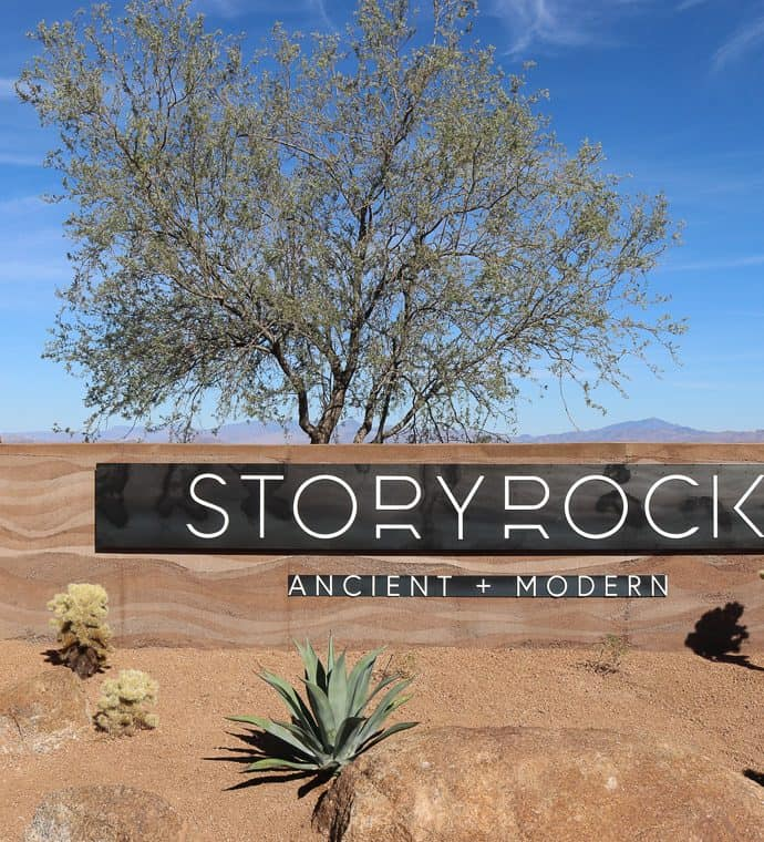 Storyrock Rammed Earth neighborhood sign walls in Arizona