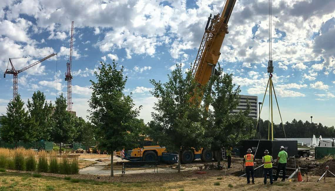 Mechanical vault installation for Denver Tech Center water feature with three geyser nozzles.