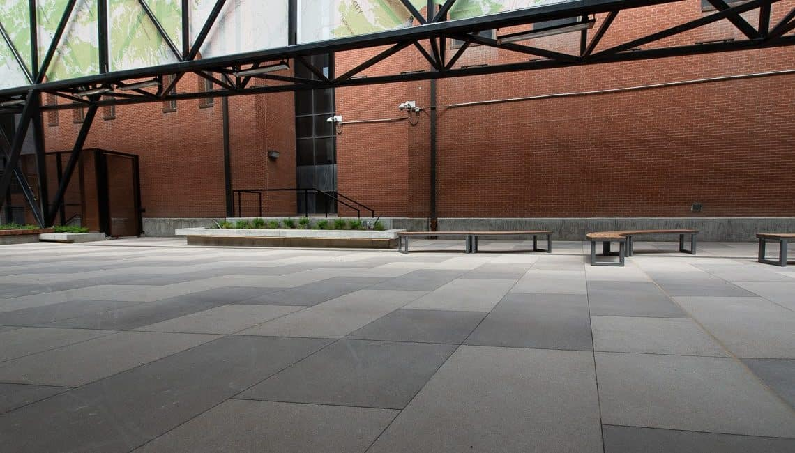 Market Station concrete plaza with stained bands.