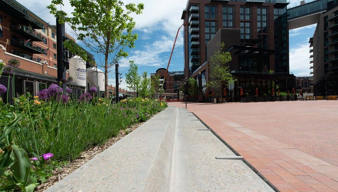 McGregor Square polished concrete benches in plaza at Downtown Denver.